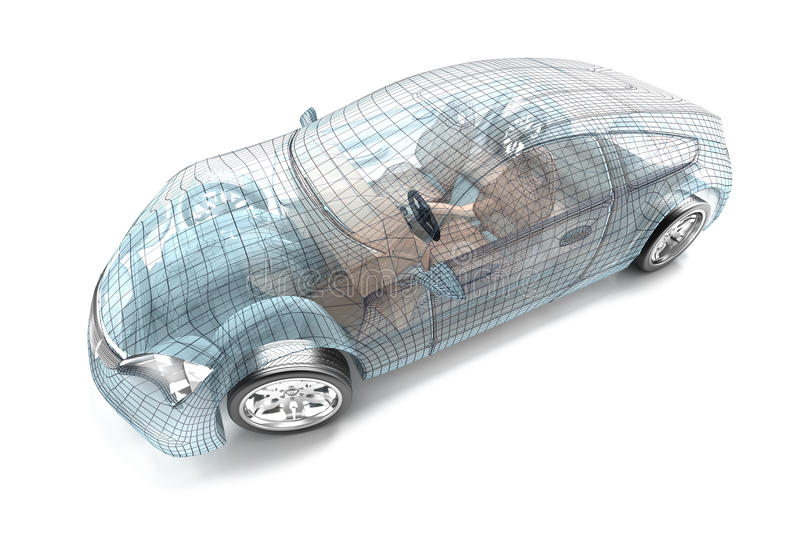 Samochodowy projekt, drutu model ilustracji