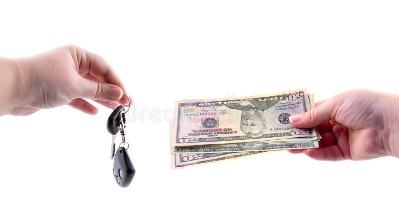 samochodowy ręka kluczy pieniądze zdjęcia royalty free