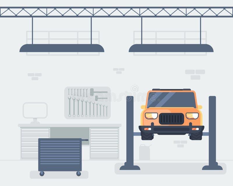 Samochodowy remontowego sklepu wnętrze Samochód na dźwignięcie platformie ilustracja wektor