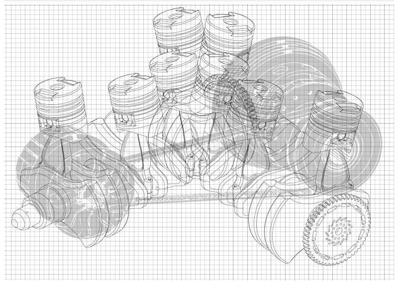 Samochodowy silnik ilustracji
