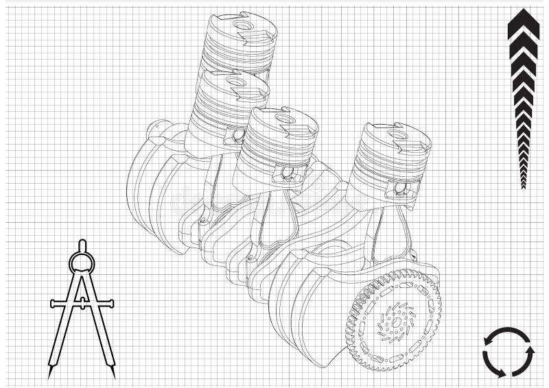 Samochodowy silnik ilustracja wektor