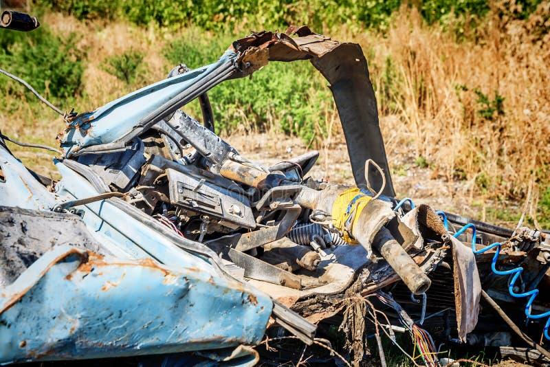 Samochodowy szczątki po samochodowego accidentcar wypadku obraz royalty free