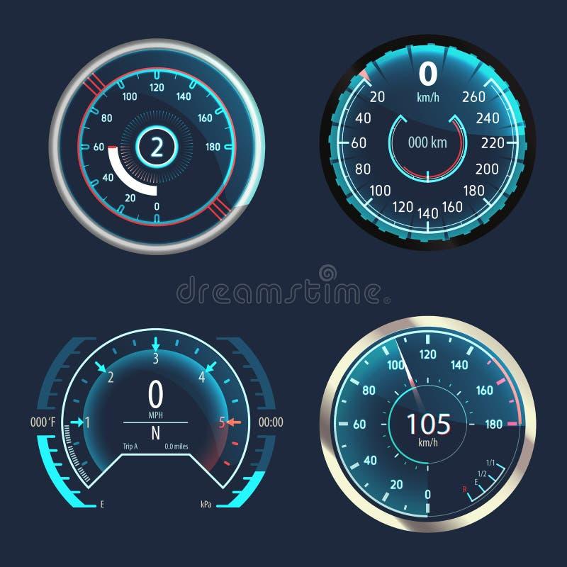 Samochodowy szybkościomierz lub analogowy drogomierz prędkość royalty ilustracja