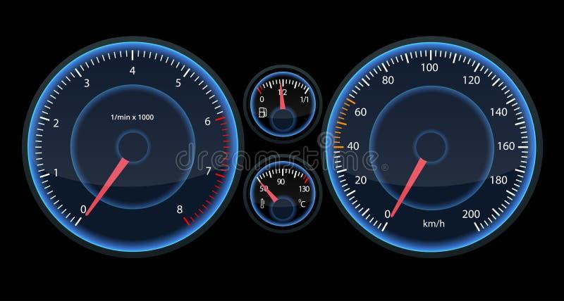 Samochodowy szybkościomierza panel Widok przy nocą na panelu Futurystyczny szybkościomierza dor Infographic i designe ilustracja wektor
