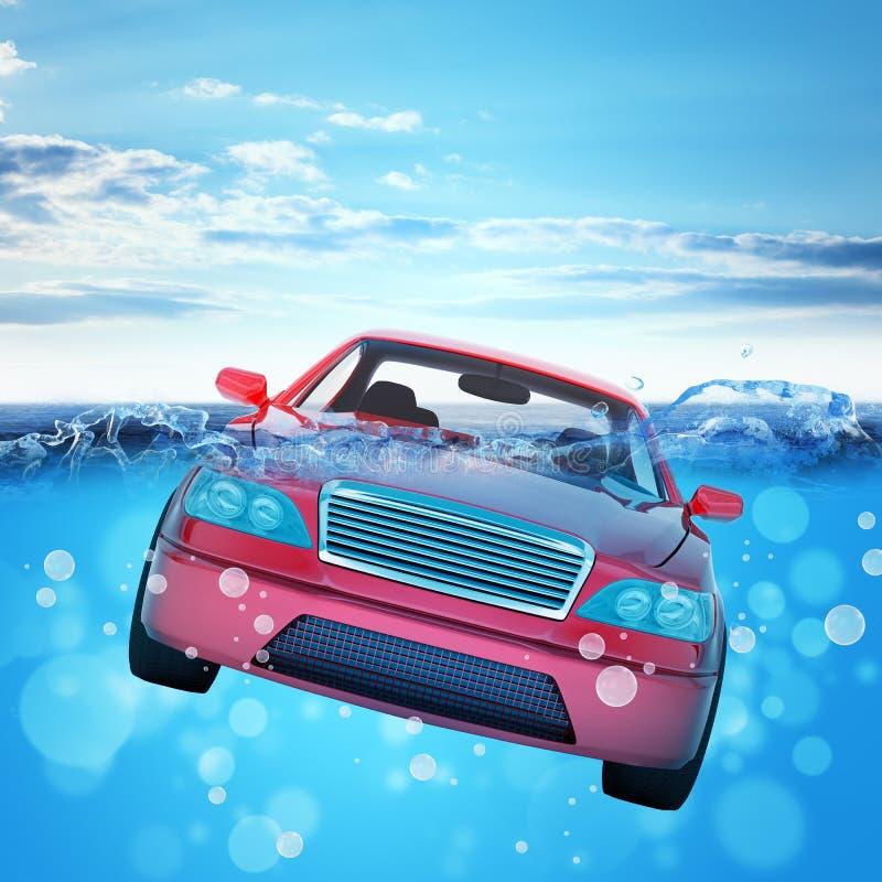 Samochodowy tonięcie w morzu obraz stock