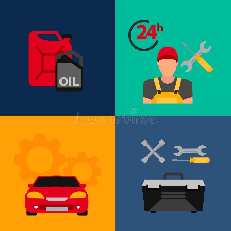Samochodowy usługowego mieszkania ikony set Auto mechanika usługowego mieszkania ikony utrzymanie samochodu działanie i naprawa ilustracja wektor