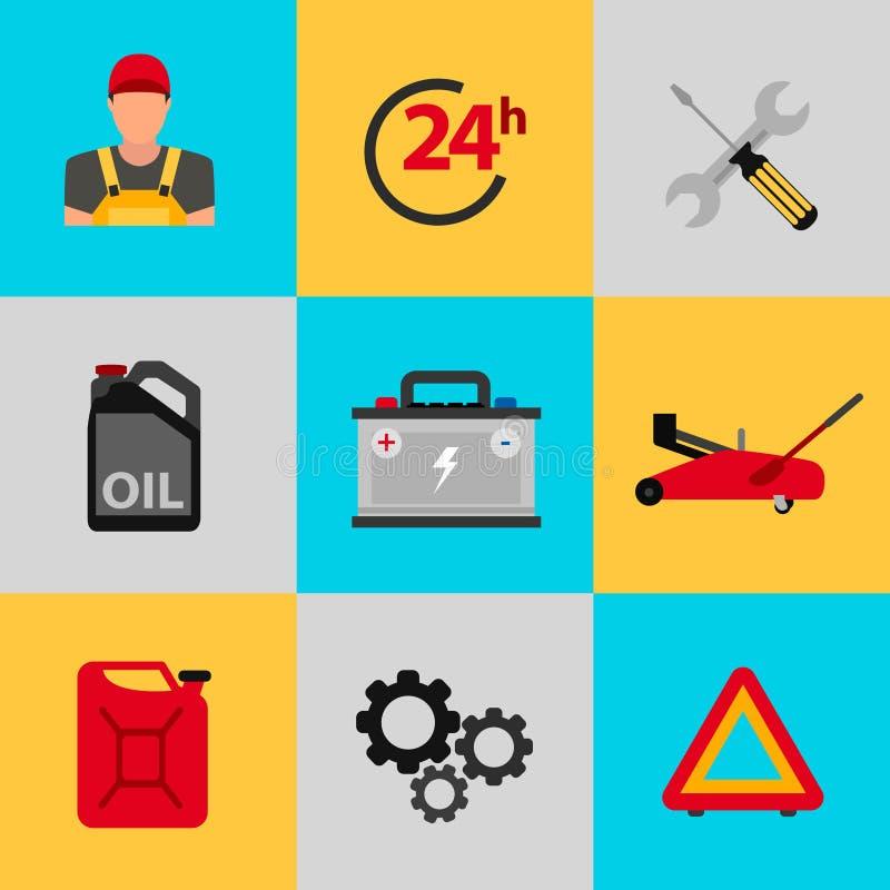 Samochodowy usługowego mieszkania ikony set Auto mechanika usługowego mieszkania ikony utrzymanie samochodu działanie i naprawa ilustracji