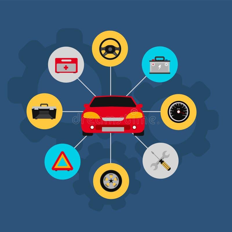 Samochodowy usługowego mieszkania ikony set Auto mechanika usługowego mieszkania ikony utrzymanie samochodu działanie i naprawa royalty ilustracja