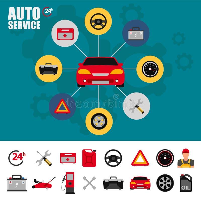 Samochodowy usługowego mieszkania ikony set Auto mechanika usługowego mieszkania ikony utrzymanie samochodu działanie i naprawa A royalty ilustracja