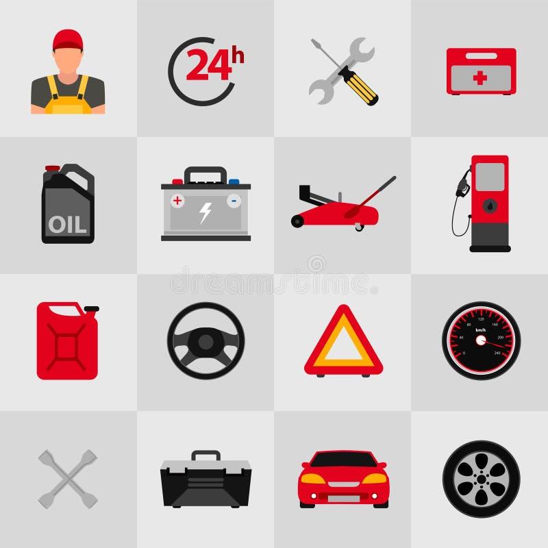 Samochodowy usługowego mieszkania ikony set Auto mechanika usługowego mieszkania ikony utrzymanie samochodu działanie i naprawa A ilustracja wektor