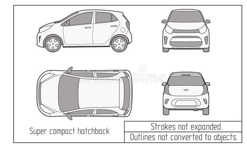 Samochodowy wektorowy szablon na białym tle Hatchback odizolowywający Wszystko ablegruje i grupuje dobrze organizuje dla łatwego  ilustracji