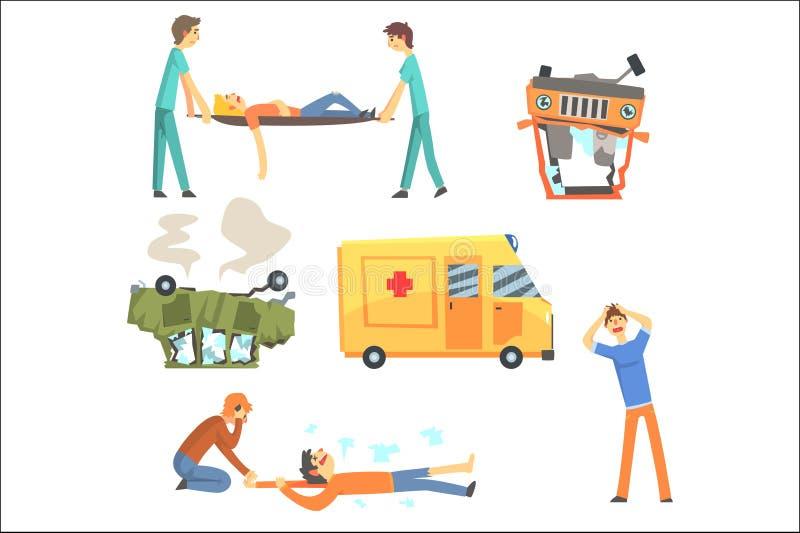 Samochodowy wypadek drogowy Wynikaj?cy W ludziach zdrowie szkody Pomaga ofiary Ustawia? Stylizowana kresk?wka karetka I ilustracji