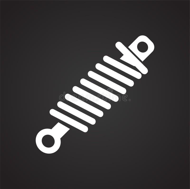 Samochodowy zwitki wiosny zawieszenie na czarnym tle dla grafiki i sieci projekta, Nowożytny prosty wektoru znak kolor tła pojęci ilustracja wektor