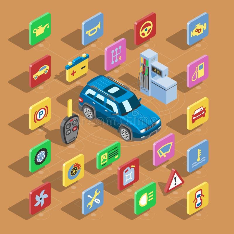 Samochodowych automobilowych ikon samochodu usługa znaka wektorowa isometric kolekcja auto symbole ustawiająca opona silnika napr royalty ilustracja
