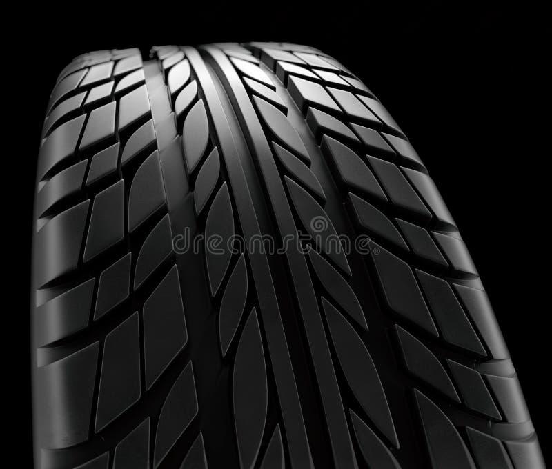 Samochodowych opon zakończenia zimy koła profilu struktura na czarnym tle - 3d rendering ilustracja wektor