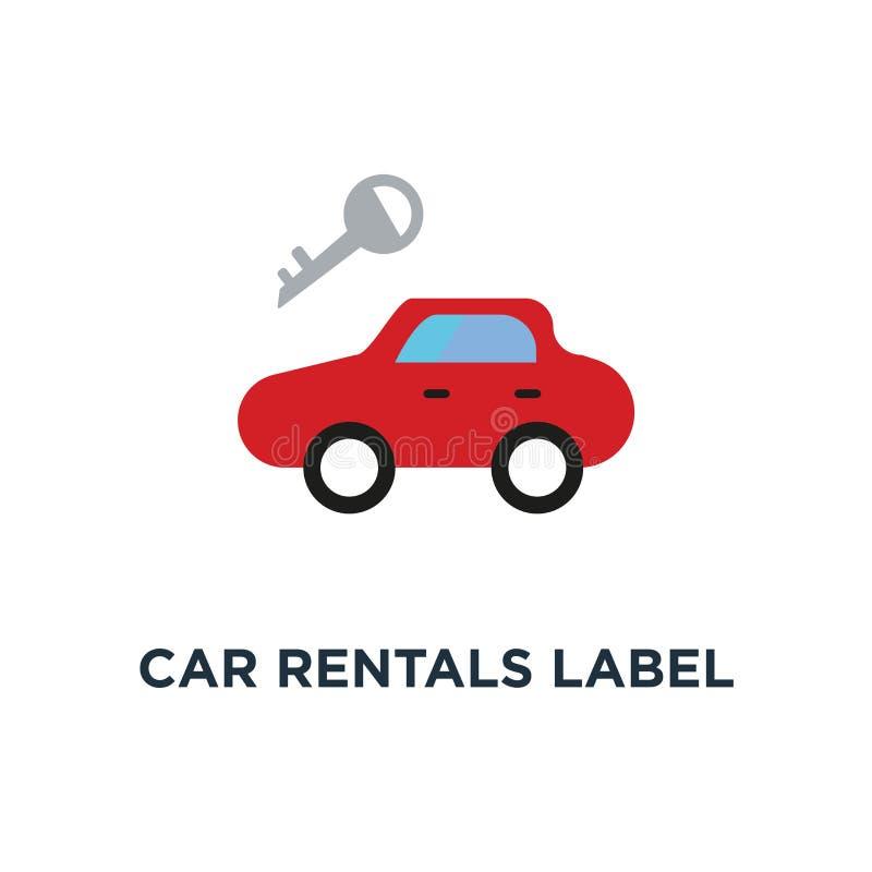 samochodowych wynajem etykietki ikona emblemat wizerunek dla samochód remontowej usługi pojęcia symbolu projekta, dodatkowe częśc ilustracja wektor
