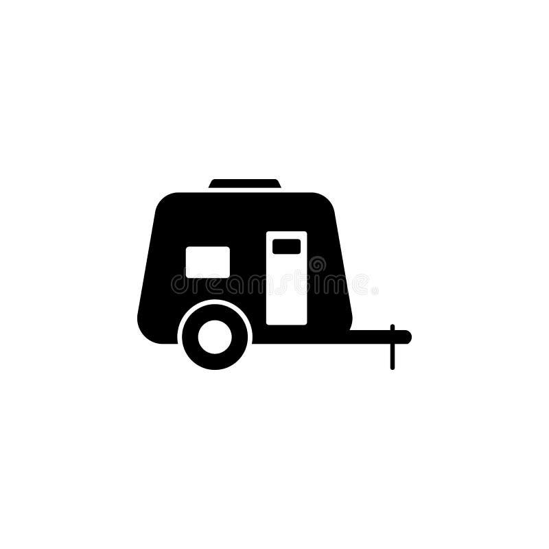 Samochodu dom na koło bryły ikonie Ciężarowego chodzenie domu wektorowa ilustracja odizolowywająca na bielu Obozowicza glifu styl royalty ilustracja
