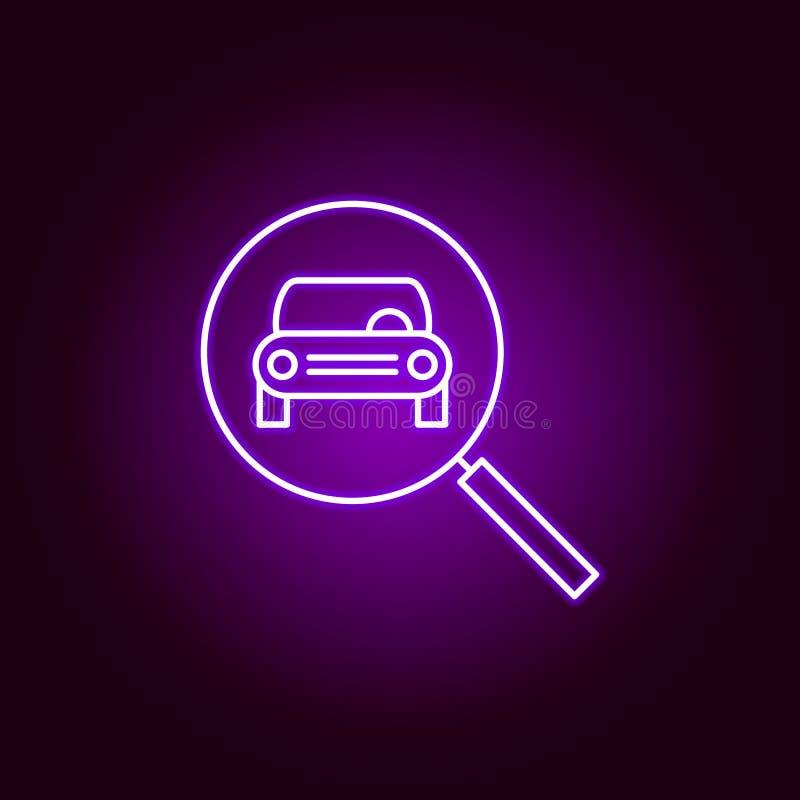 samochodu frontowego magnifier konturu szklana ikona w neonowym stylu Elementy samochód naprawy ilustracja w neonowej stylowej ik royalty ilustracja
