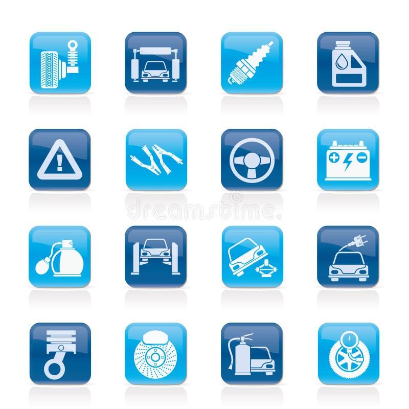 Samochodu i drogi usługa ikony royalty ilustracja