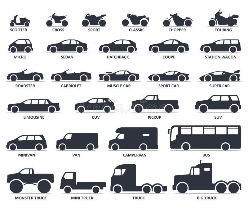 Samochodu i motocyklu typ ikony ustawiać Tytuł modeluje moto i samochód royalty ilustracja