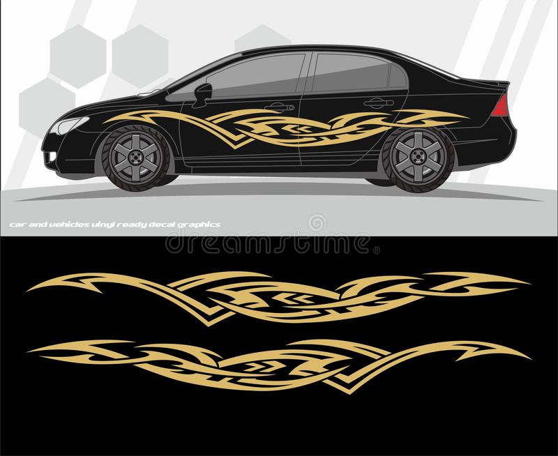 Samochodu i pojazdów decal grafika zestawu projekty przygotowywający drukować i ciąć dla winylowych majcherów royalty ilustracja
