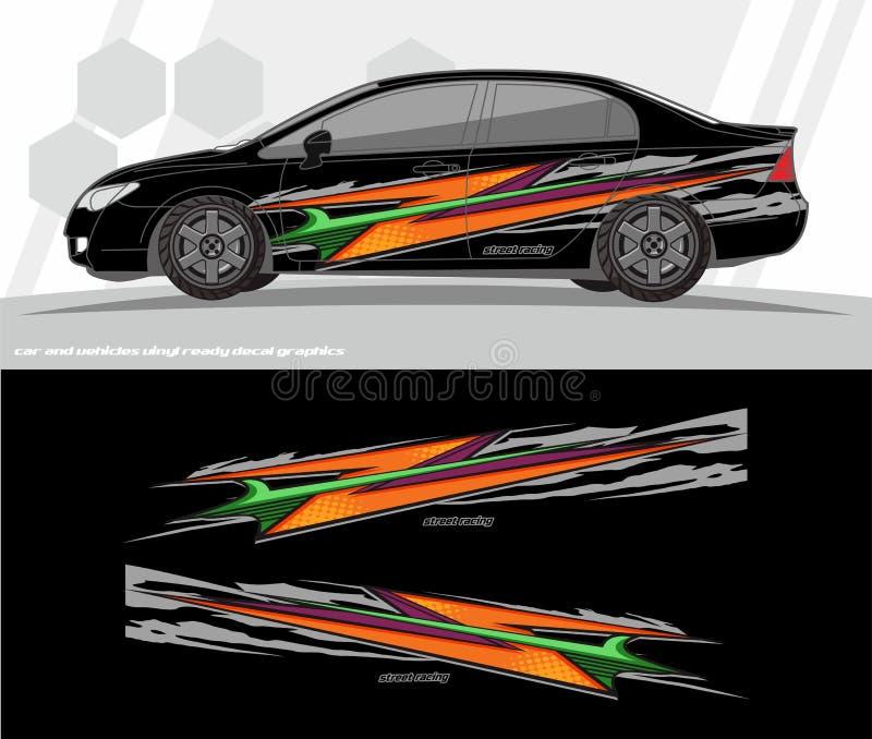 Samochodu i pojazdu opakunku decal grafika zestawu projekty przygotowywający drukować i ciąć dla winylowych majcherów royalty ilustracja