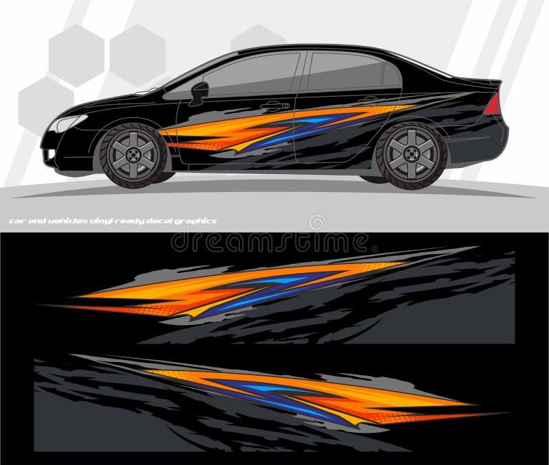 Samochodu i pojazdu opakunku decal grafika zestawu projekty przygotowywający drukować i ciąć dla winylowych majcherów ilustracji