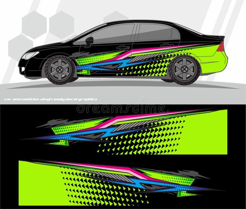 Samochodu i pojazdu opakunku decal grafika zestawu projekty przygotowywający drukować i ciąć dla winylowych majcherów ilustracja wektor