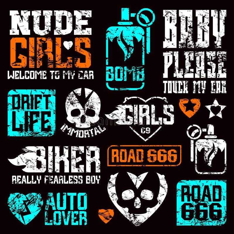 Samochodu i rowerzysty kultury odznaki ilustracja wektor