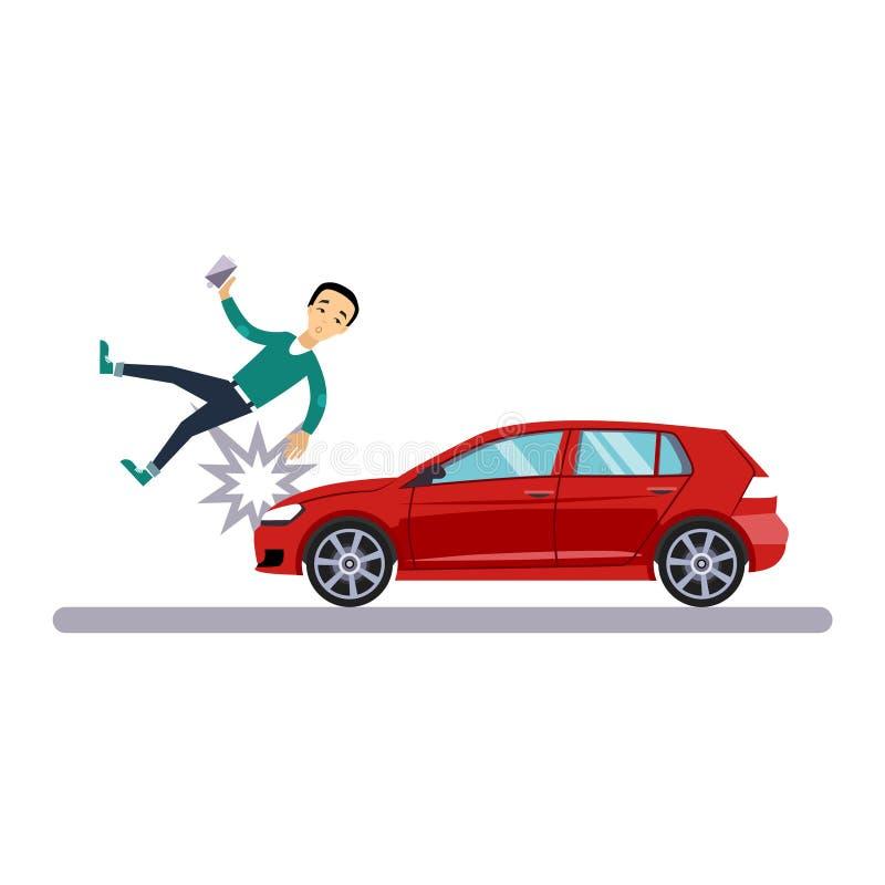 Samochodu i transportu zagadnienie z pieszy również zwrócić corel ilustracji wektora royalty ilustracja
