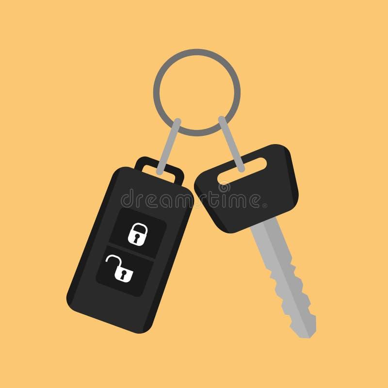 Samochodu klucz z pilot do tv ikoną w mieszkanie stylu na żółtym backg ilustracja wektor