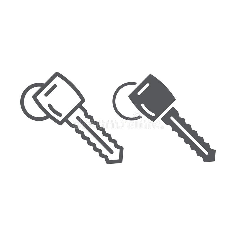 Samochodu klucza linia, glif ikona, samochód i ochrona, otwieramy szyldowe, wektorowe grafika, liniowy wzór na białym tle ilustracji