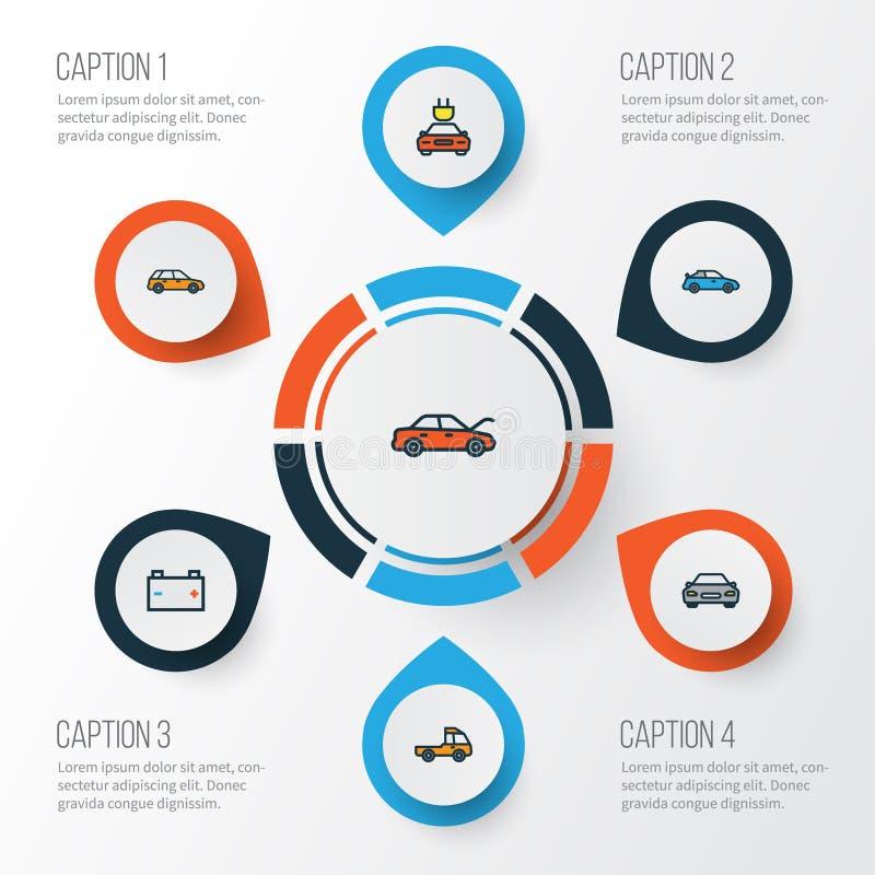Samochodu konturu Kolorowe ikony Ustawiać Kolekcja Elektryczny, samochód, kabriolet I Inni elementy, Także Zawiera royalty ilustracja