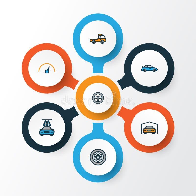Samochodu konturu Kolorowe ikony Ustawiać Kolekcja Pickup, kabriolet, prędkość I Inni elementy, Także Zawiera symbole ilustracji