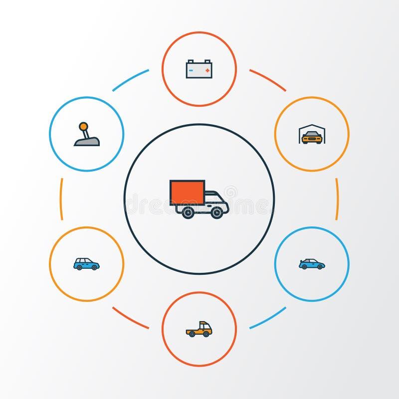Samochodu konturu Kolorowe ikony Ustawiać Kolekcja poziom, Pickup, kabriolet I Inni elementy, Także Zawiera symbole ilustracja wektor
