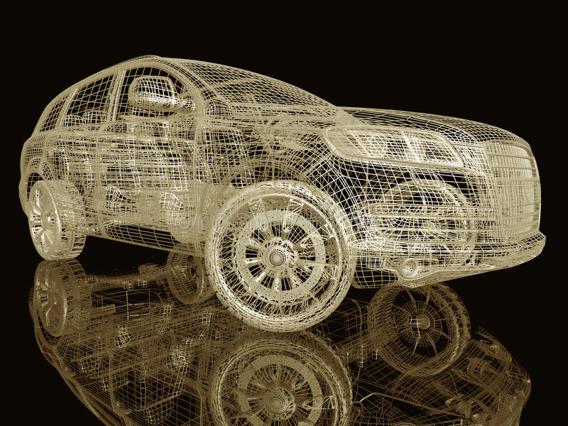 Samochodu model na czerni ilustracja wektor