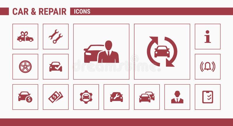 Samochodu & naprawy ikony - Ustalona sieć 01 & wisząca ozdoba ilustracja wektor
