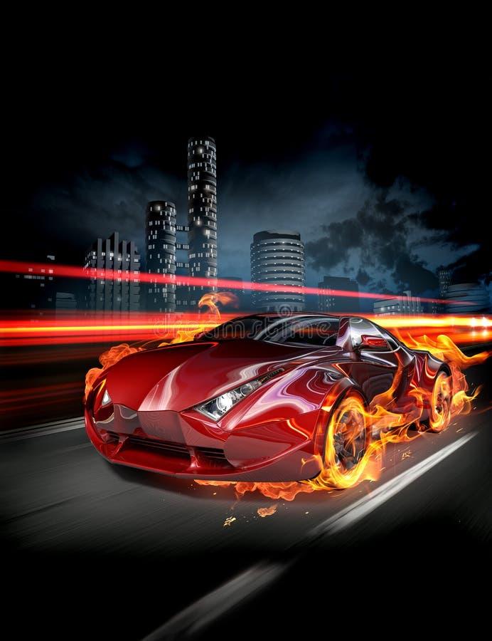 samochodu ogień ilustracji