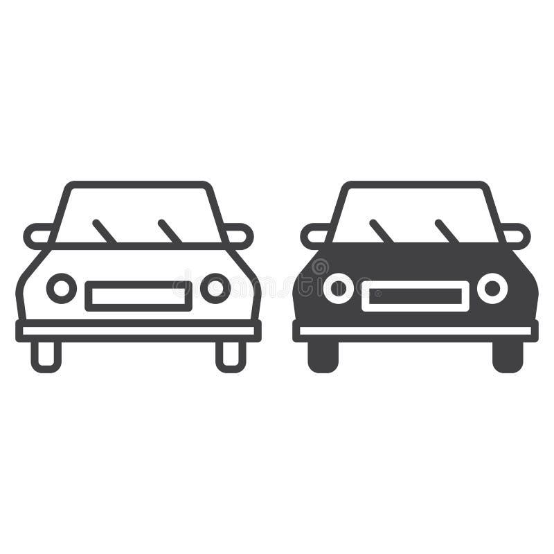 Samochodu, pojazdu, kontur i piktogram odizolowywający na bielu ikona, kreskowa i stała, wypełniający wektoru znaka, liniowego i  royalty ilustracja