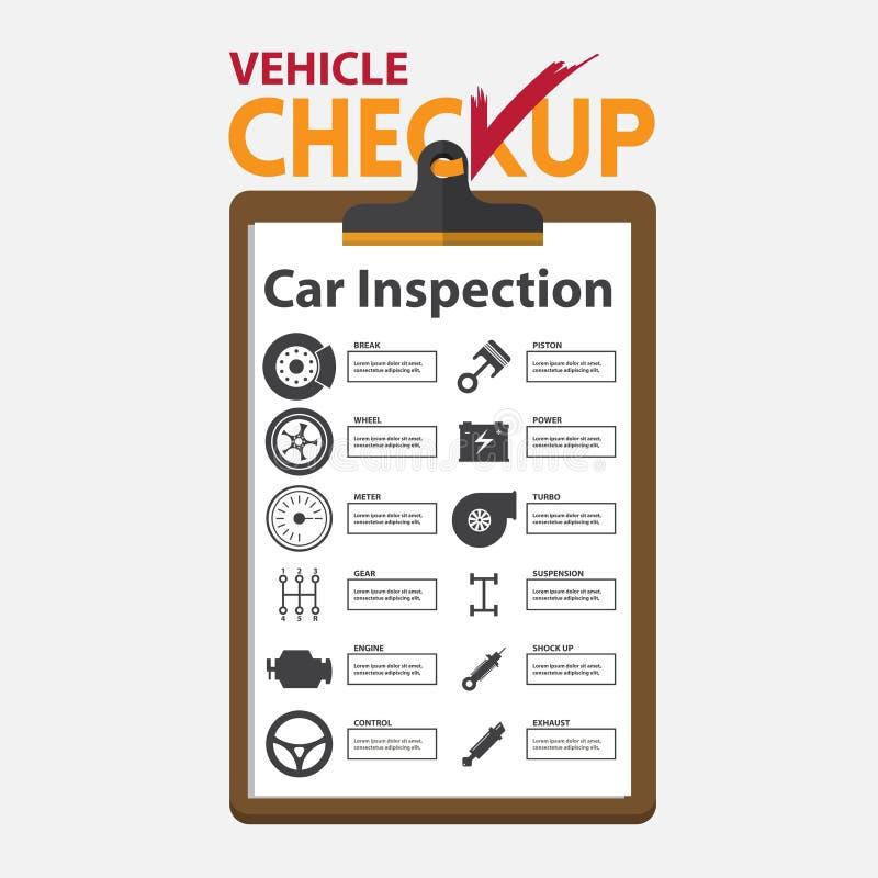 Samochodu remontowy infographic w płaskim projekcie Checkup schowek royalty ilustracja