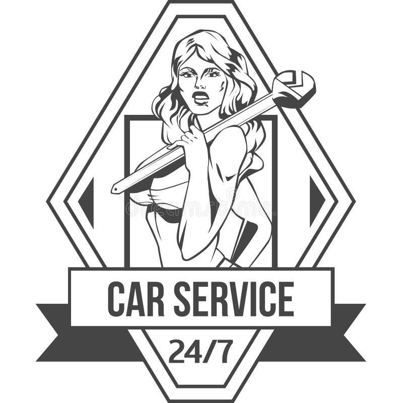 Samochodu rocznika usługowa retro odznaka z seksowną kobietą royalty ilustracja