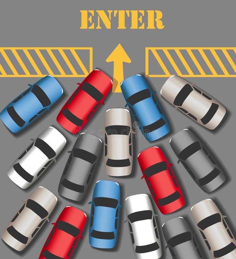 Samochodu ruch drogowy Wchodzić do łączy ruchliwie miejsce ilustracji