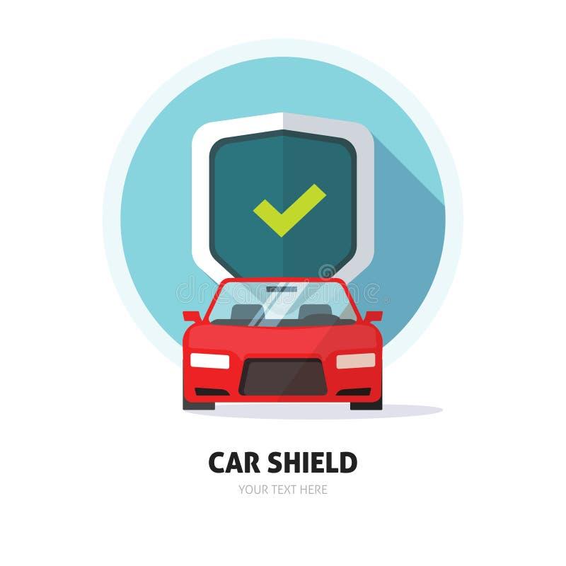 Samochodu strażnika osłony znak, karambolu asekuracyjny logo, ochrona, ochrona emblemat ilustracja wektor