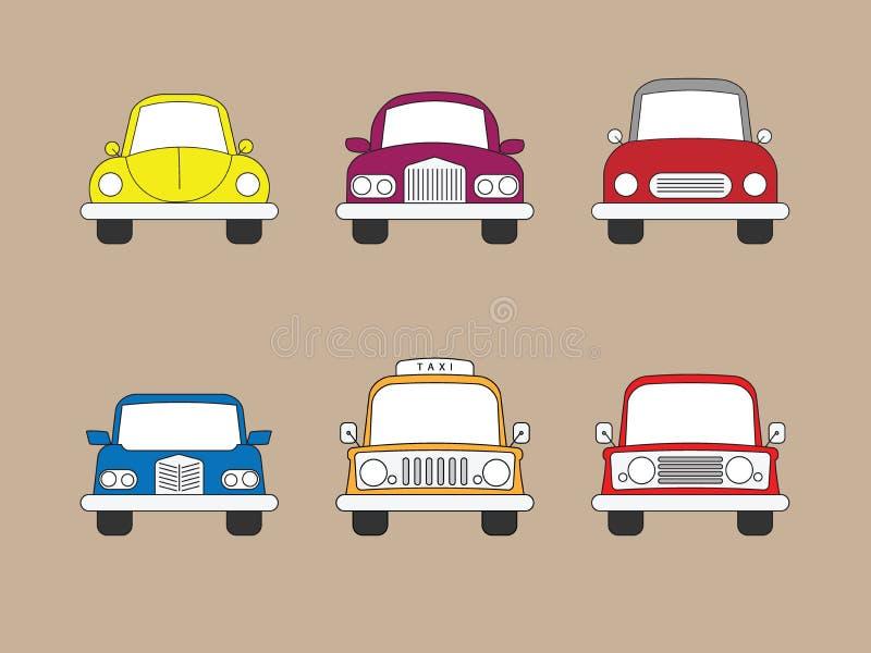 Samochodu układu i sedanu ikony ilustracji