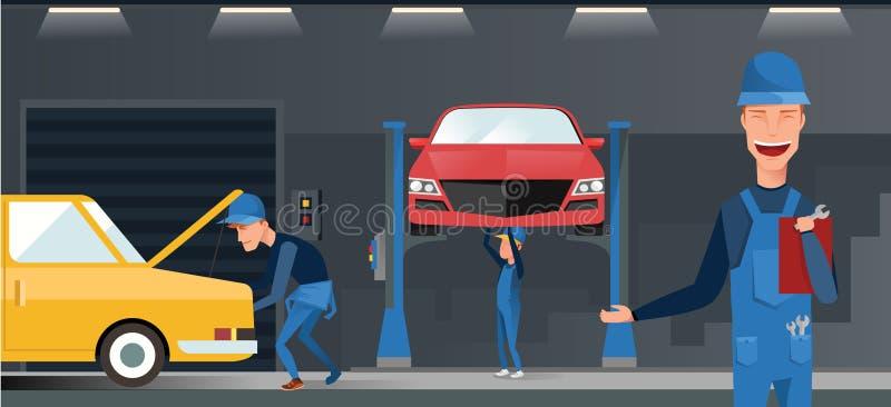 Samochodu utrzymania autoservice centrum garażu isometric widoku remontowy wnętrze z mechanikami bada podnoszących pojazdy wektor royalty ilustracja