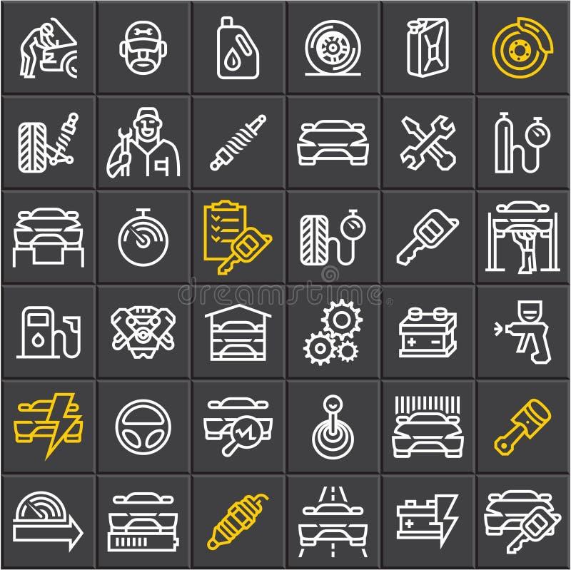 Samochodu utrzymania usługowe ikony ustawiać na czarnym tle, samochodowe wektor linii ikony, auto części, samochód naprawa ilustracji