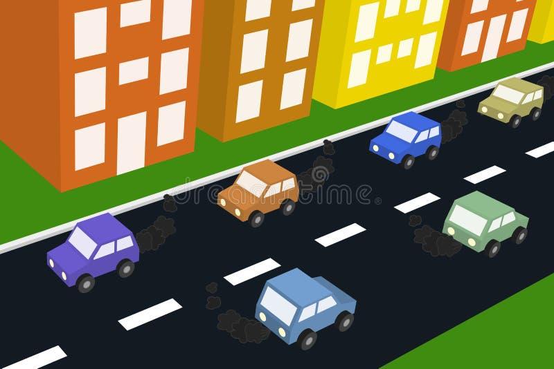 samochodu zanieczyszczenie powietrza ilustracja wektor