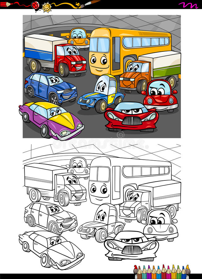 Samochody grupują kolorystyki książkę ilustracji