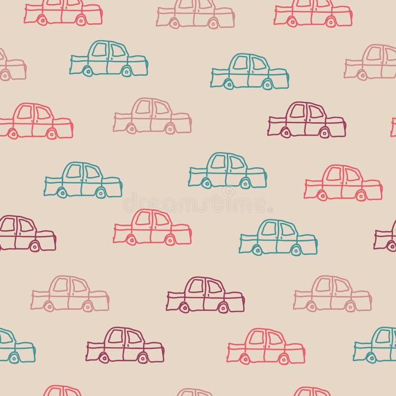Samochody na brown tle ilustracja wektor