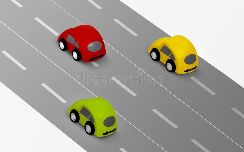 Samochody na drodze royalty ilustracja